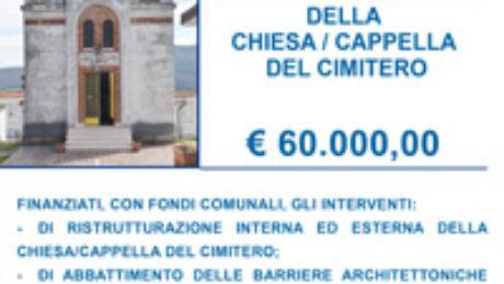 Finanziata ristrutturazione cappella