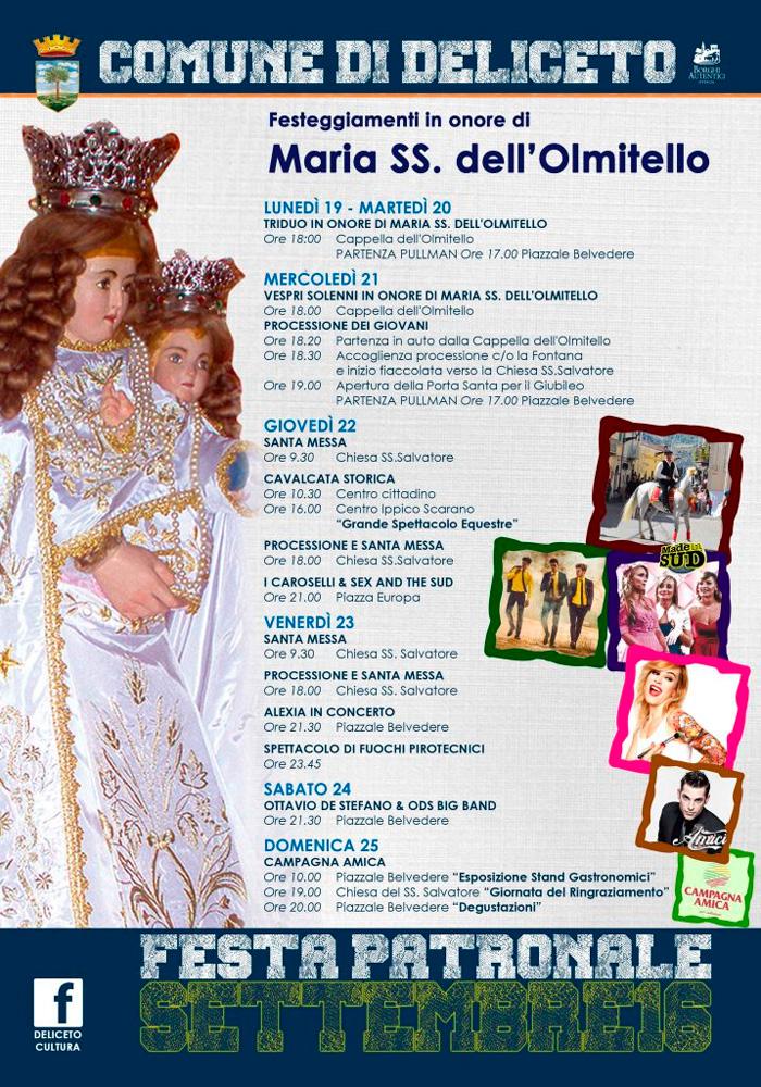 Deliceto,festa patronale in onore di santissima Maria dell'Olmitello
